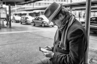 Man reading on tablet
